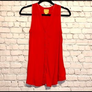 Maeve Red Button Down Flowy Tank Top